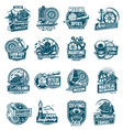 marine sailing and nautical adventure icons set vector image