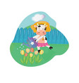 merry cow watering tulips with can springtime vector image vector image