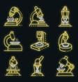 microscope icons set neon vector image vector image