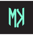 mk logo monogram with ribbon style design template vector image vector image
