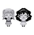 monochrome full body couple cute anime girl facial vector image