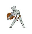 Orc Warrior Hold Club Shield Cartoon vector image vector image