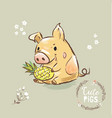 pig character holding pineapple 2019 symbol happy vector image vector image