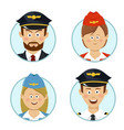 pilots air hostesses professional people avatars vector image vector image
