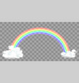rainbow with clouds isolated on a transparent vector image