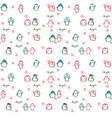 seamless pattern cute pink and blue green penguins vector image