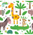 seamless pattern with funny jungle animals vector image vector image