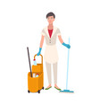 smiling woman dressed in uniform holding floor mop vector image vector image