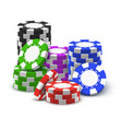 stack or heap pile or tower casino chips vector image vector image