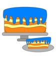 tasty blue cake on white background vector image vector image