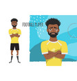 the black african american football player crossed vector image vector image