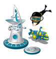 underwater research station and scuba diver vector image