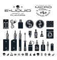 Vape labels e cigarette and fruit flavor icons vector image vector image