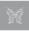 White paper butterfly with vintage pattern on gray vector image vector image
