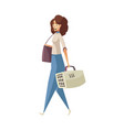 woman with pet carrier vector image