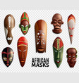 african masks transparent icon set vector image