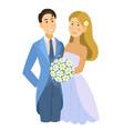 newlyweds wedding bride and groom engaged vector image