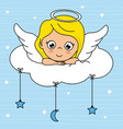 angel girl on top of a cloud vector image vector image