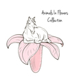 Animals In Flower Collection Horse with flower on vector image