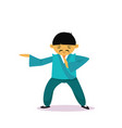 asian man cartton character wearing traditional vector image