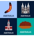 Australian ladscape and architecture flat icons vector image