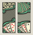 banners for blackjack vector image vector image