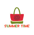 beach bag with a print bright watermelon vector image vector image