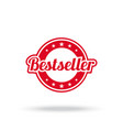 best seller label red color isolated on white vector image vector image