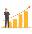 businessman and growing investment graph vector image
