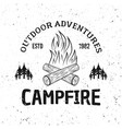 camping fire vintage monochrome emblem vector image vector image