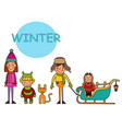 children-winter boys and girls kids in winter vector image