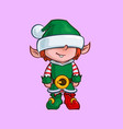 christmas cartoon icon - santa elf minion helper vector image