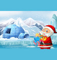 christmas theme with santa and igloo vector image vector image