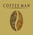 coffee man-fingerprint vector image vector image