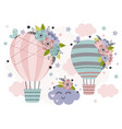 cute poster with hot air balloon vector image vector image
