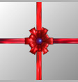 decorative red bows with horizontal red ribbon vector image vector image