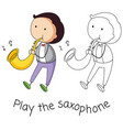 doodle man playing saxophone vector image
