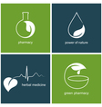 Emblems for green pharmacy and herbal medicine vector image vector image