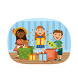 group diverse children opening gifts vector image