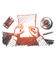hand drawn businessman hands making notes on paper vector image
