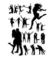 happy people detail silhouette vector image vector image