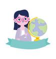 happy teachers day teacher school globe map vector image vector image