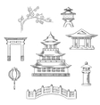 Japan travel icons in sketch style vector image vector image