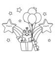 kawaii fox and happy birthday design vector image vector image