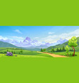 landscape with mountain peaks green hills trees vector image vector image