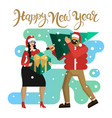 man and woman in santa hats husband and wife or vector image vector image