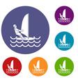 man on windsurf icons set vector image vector image