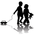 Pair of children with toy car vector image vector image
