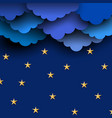 paper blue clouds on night sky with stars vector image vector image