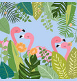 pink flamingo in botanical tropical forest vector image vector image